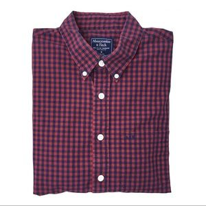 Abercrombie & Fitch red /navy checked button shirt